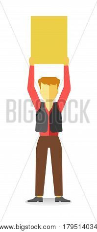 Striking man holding empty yellow banner above head isolated on white. Vector illustration of male protesting against law at demonstration in flat style design. Worker demonstrator with billboard