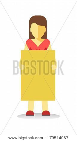 Striking woman holding empty yellow banner. Vector illustration of female protesting against something at demonstration in flat style design. Worker demonstrator with billboard, revolution for freedom