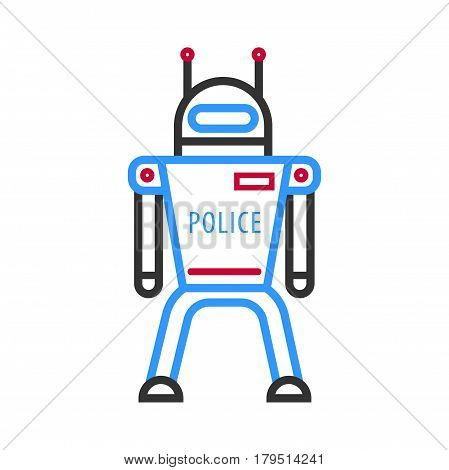 Police robot isolated on white background. Futuristic android military machine design vector illustration in flat style. Security symbol, dron character line graphic icon. Virtual cyber computer