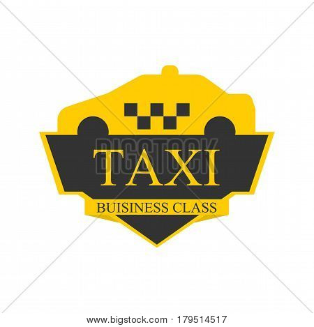 Business class taxi logotype with abstract car on top of label isolated on white. Vector illustration in flat design of delivery passengers service in yellow and black colors. Taxiing template badge
