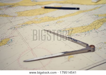 Navigation equipment on map.