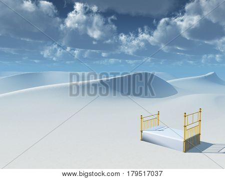 Surreal painting. Bed in desert.  3D Rendering