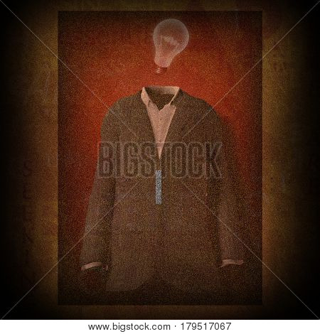 Surrealism. Pattern with suit and light bulb.  3D Rendering