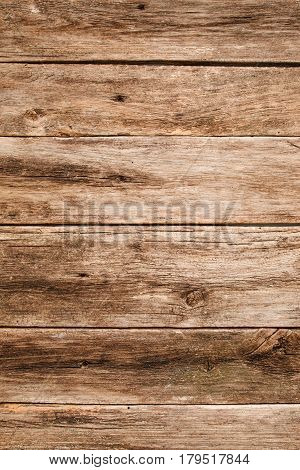 Old wooden background, horizontal planks position. Grungy wood texture, used shabby rustic table, free space for text or advertisement