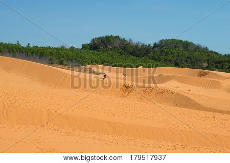 Walk on the Red Dunes. Surroundings of the village of Mui Ne. Phan Thiet, Vietnam
