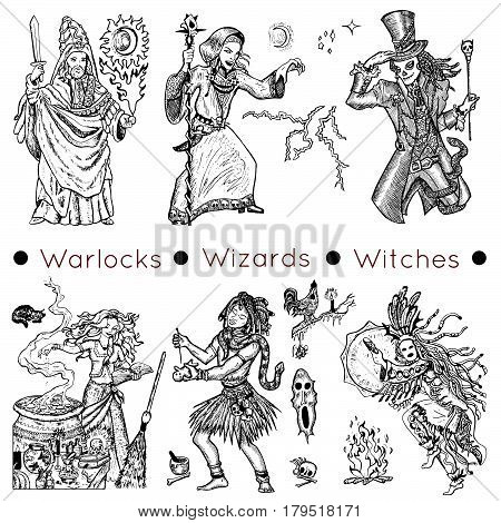Graphic collection with hand drawn characters of warlocks, wizards and witches. Vector illustrations, doodle drawings