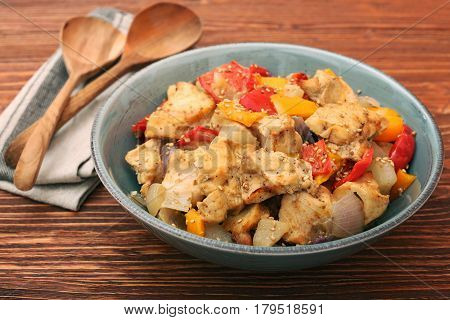 Chicken breast braised pear peppers and onions. Healthy eating concept. Low carb and fat nutrition.