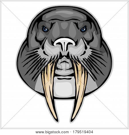 Walrus head mascot - vector illustration isolated on white