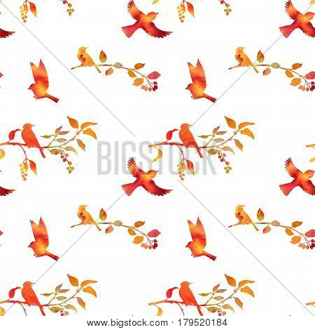 seamless pattern with watercolor silhouettes of birds at tree, hand drawn bckground with songbirds at branch