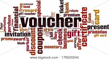 Voucher word cloud concept. Vector illustration on white