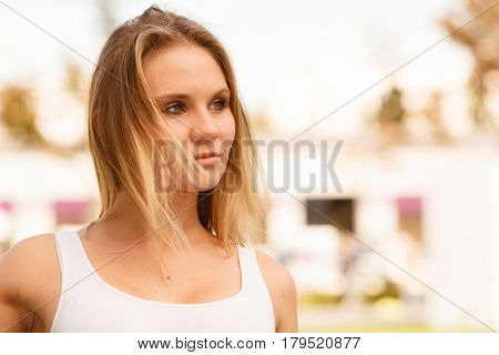 Beauty young blondie girl portrait. Gorgeous lovely woman outdoor. Positive emotion feelings.