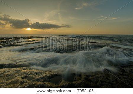 Wave on the Tip Of Borneo beach located at Borneo, Malaysia
