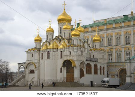 MOSCOW, RUSSIA - APRIL 15, 2015: Annunciation Cathedral cloudy spring day. The Moscow Kremlin