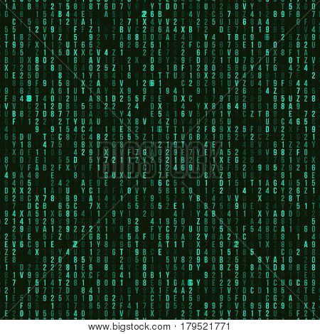 Green hexadecimal computer code. Abstract matrix background. Hacker attack. Generated computer code concept
