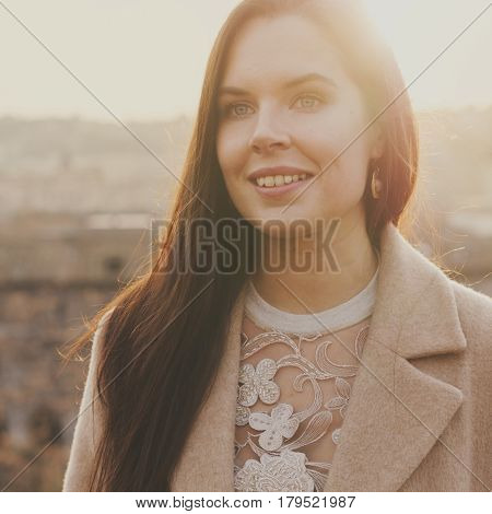 Young Happy Woman During Her Trip To Rome