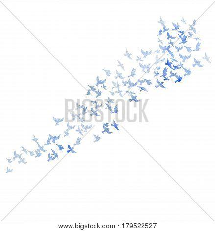 Bird flock, watercolor flying birds silhouettes, hand drawn songbirds