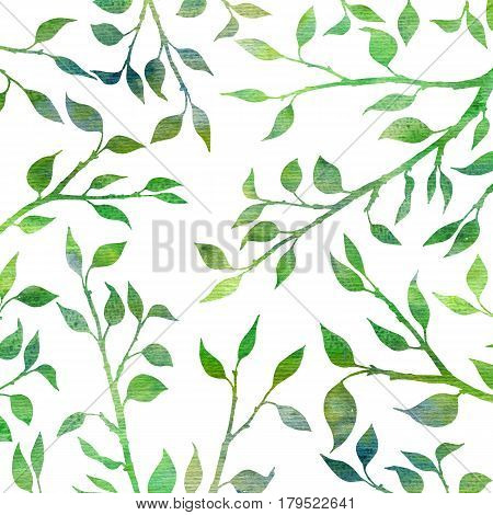 tree branches with leaves, background with trees twigs, hand drawn watercolor backdrop, garden template