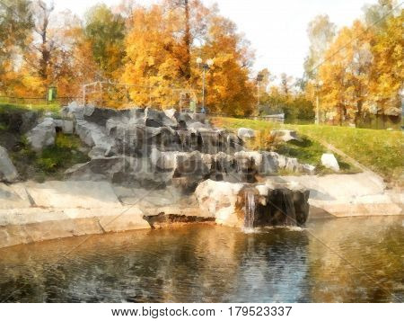 Bright Yellow Autumn Park With Waterfall. Reflected Trees In Pond. Watercolor