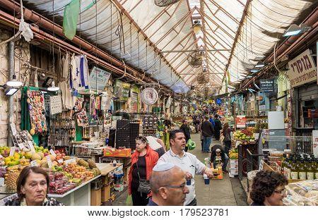 JERUSALEM ISRAEL - MARTH 31 2017: Mahane Yehuda Market is popular marketplace in Jerusalem Israel