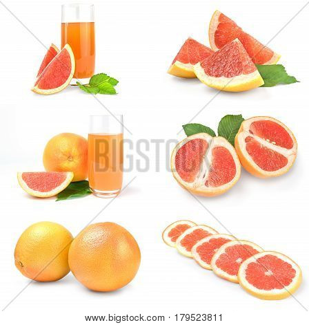 Set of grapefruit over a white background