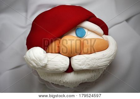 cake santa claus face fondant  Christmas decorative