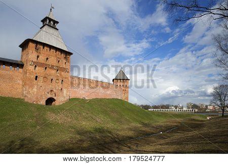April near the Kremlin in Veliky Novgorod, Russia