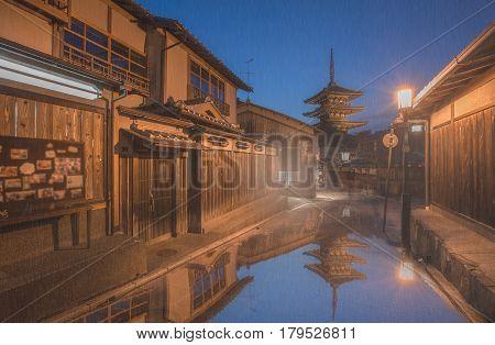 Yasaka Pagoda and Sannen Zaka Street in the Rainy Day, Kyoto, Japan