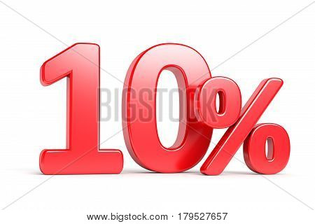 Discount 10 percent price cut off text sign isolated on white background. Shop sale business commercial and advertisement concept. 3D illustration