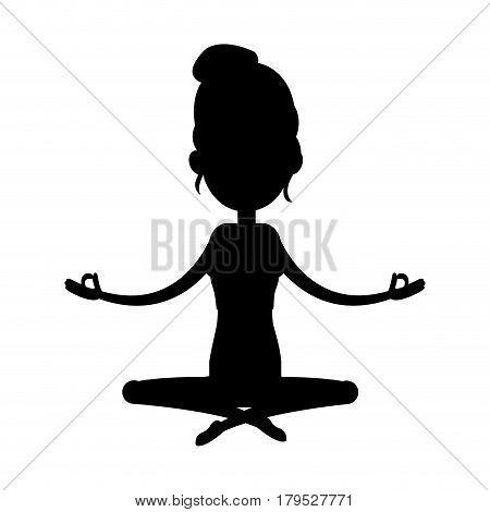 woman yogi person meditating icon image vector illustration design  black silhouette