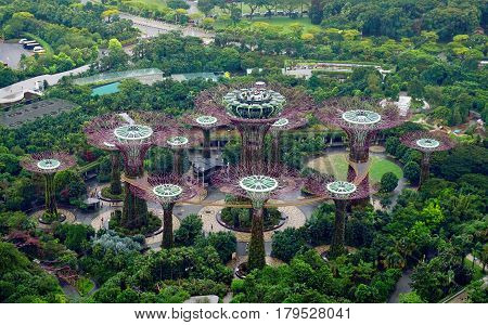 Singapore, Singapore - February 10, 2017: Supergrove trees in Gardens By the Bay, situated in Marina Bay area in Singapore, it's a new design garden with innovative.