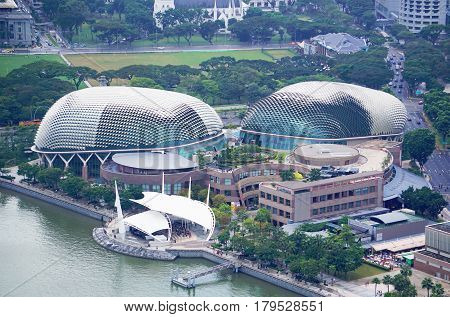 Singapore, Singapore - February 11, 2017: Singapore Opera building and Singapore river in Singapore.