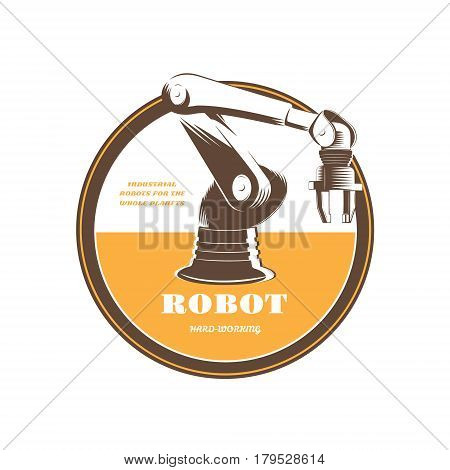 Automatic hydraulic robot in industrial production. Vector illustration in retro style