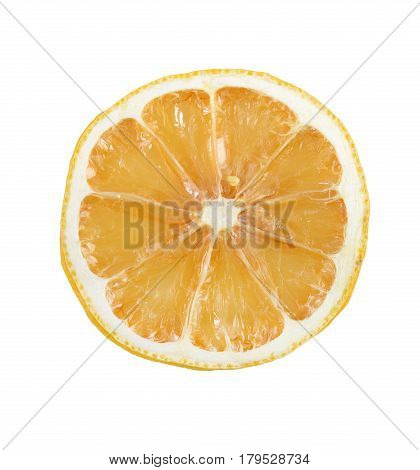 closeup of dried lemon slice with clipping path