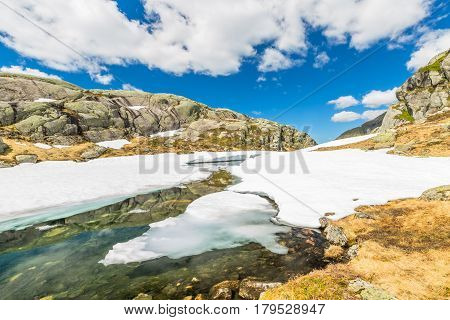 Scenic route to the spectacular glacier Folgefonna National Park, near Odda and Jondal, Norway, Europe.