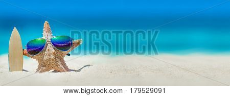 Starfish in sunglasses with surfboard on beach, holiday in beach concept