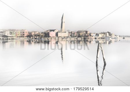 Muted colors shrouded in mist on the island of Burano