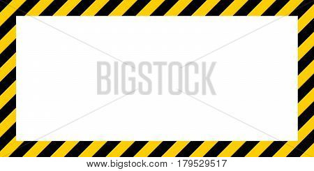 warning striped rectangular background, yellow and black stripes on the diagonal, a warning to be careful - the potential danger vector template sign border yellow and black color Construction warning border