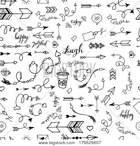 Tribal vintage black arrows on white background. Vector graphic pattern. native american style. For web page, pattern fill, wallpaper, card, textile. Hand drawn. Sketch.Doodle.Modern.Fashion