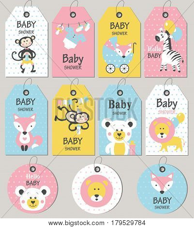 Gift tags and cards baby shower. Baby Arrival set. Vector illustration. poster