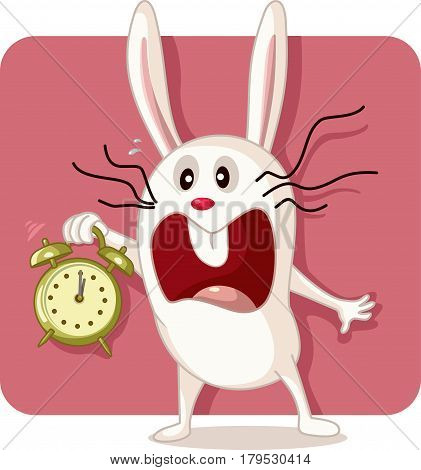 Stressed White  Bunny with Alarm Clock Vector