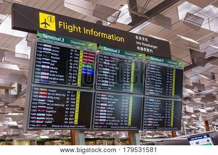 Departure Board In Changi International Airport, Singapore Changi International Airport