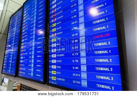 Departure Board In Don Muang International Airport Thailand