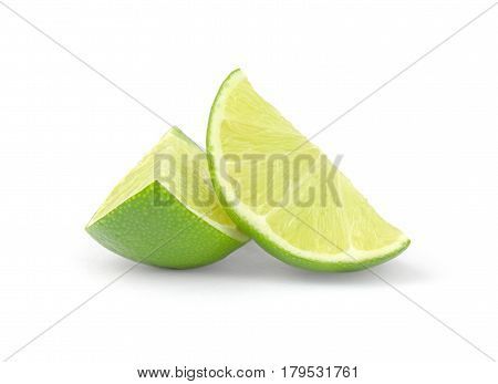 fresh lime wedge isolated on a white background.