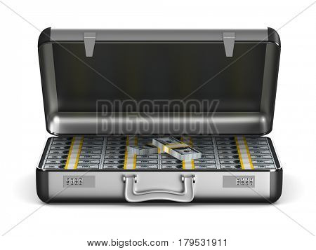 Case with money on white background. isolated 3D illustration