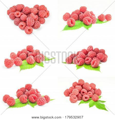 Set of raspberries with leaves on a white background cutout
