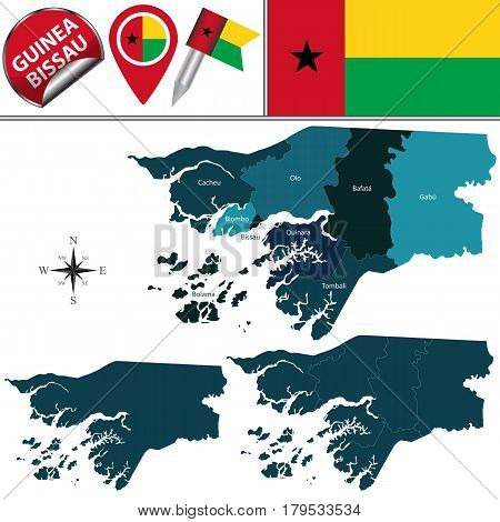 Map Of Guinea Bissau With Named Regions