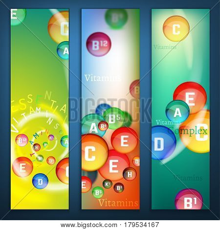 Essential vitamin complex. Creative background with different vitamins in glossy pills flying in a colourful movement. Vector illustration in bright colours. Medical, dietary and pharmaceutical image. Vertical banners template.