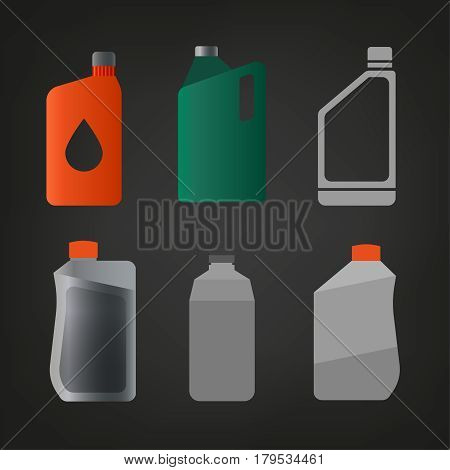 Synthetic oil icons set. Different motor oils symbols in flat style on a dark grey background. Editable vector simple illustration of canisters with engine oil.