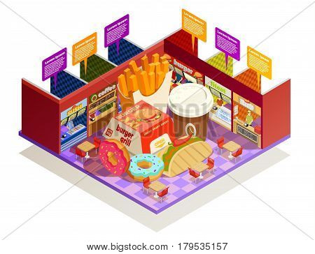 Interior multiple food vendors counters elements with common area for self-serve dinner colorful isometric composition vector illustration