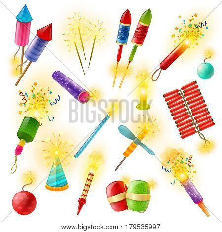 Pyrotechnics commercial firework crackers firecrackers indian bengal lights and sparklers for special events colorful collection vector illustration
